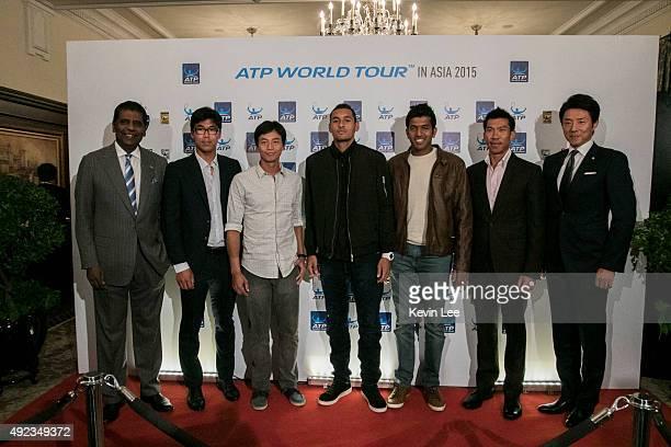 Vijay Amritraj Hyeon Chung YenHsun Lu Nick Kyryios Rohan Bopanna Pasadora Srichapan and Shuzo Matsuoka pose for a picture at ATP World Tour in Asia...