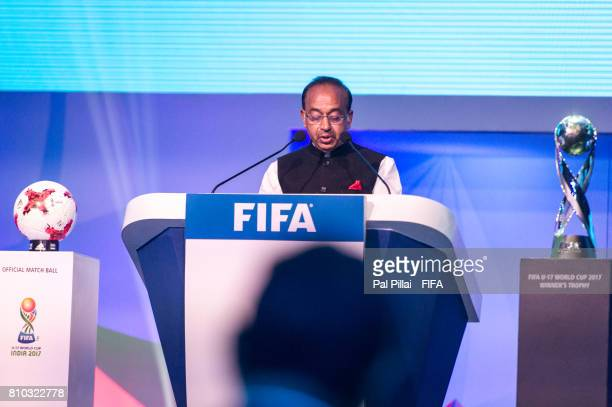 Vijay Goel Sports Minister India addresses the gathering during FIFA U17 World Cup 2017 Draw held at Hotel Sahara Star on July 07 2017 in Mumbai India