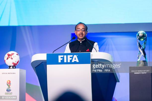 Vijay Goel Sports Minister India addresses the gathering during FIFA U17 World Cup 2017 Draw held at Hotel Sahara Star on July 07 2017 in MumbaiIndia
