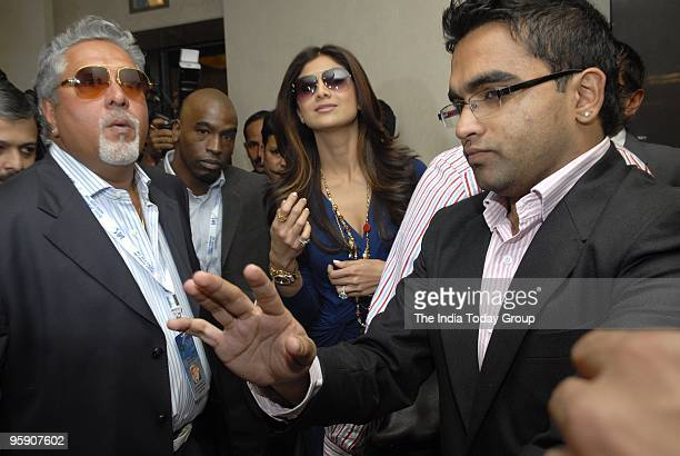 Vijay Mallya and Shilpa Shetty at the Indian Premier League's third auction in Mumbai on 19th January 2010