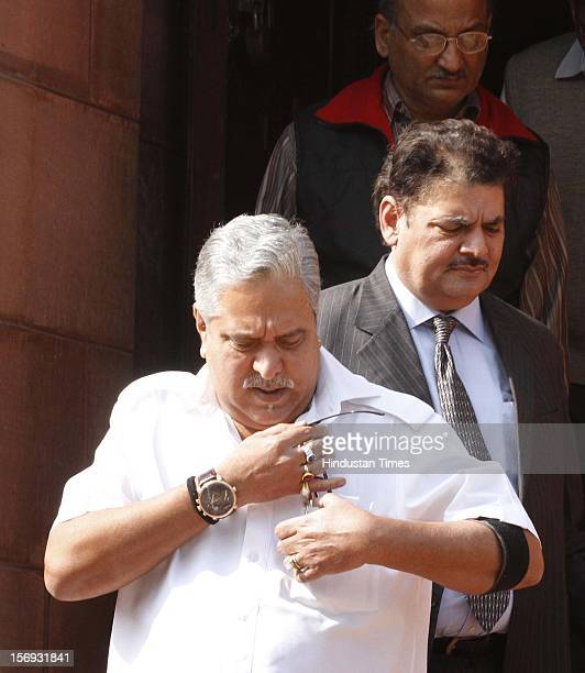 Vijay Mallya at Parliament House on the first day of its winter session on November 22 2012 in New Delhi India Parliament's winter session began on a...