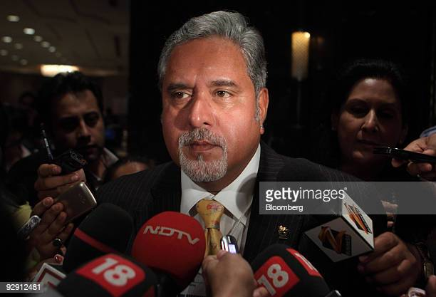 Vijay Mallya chairman of United Spirits Ltd speaks to the media at the World Economic Forum's India Economic Summit in New Delhi India on Monday Nov...