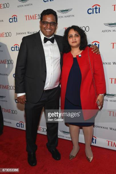 Vijay Shekhar Sharma and Mridula Sharma attends the 2017 Time 100 Gala at Jazz at Lincoln Center on April 25 2017 in New York City