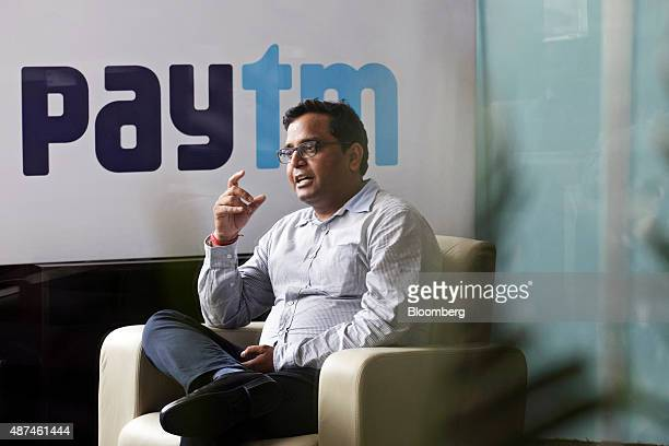Vijay Shekhar Sharma founder and chairman of One97 Communications Ltd speaks during an interview at the company's headquarters in Noida Uttar Pradesh...