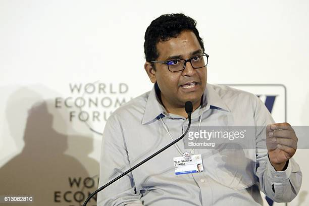 Vijay Shekhar Sharma founder and chairman of One97 Communications Ltd operator of PayTM speaks at the World Economic Forum India Economic Summit in...