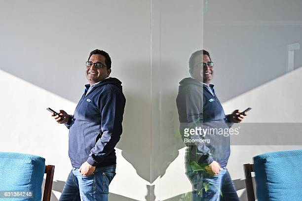 Vijay Shekhar Sharma founder and chairman of One97 Communications Ltd operator of PayTM poses for a photograph at the company's office in Noida Uttar...