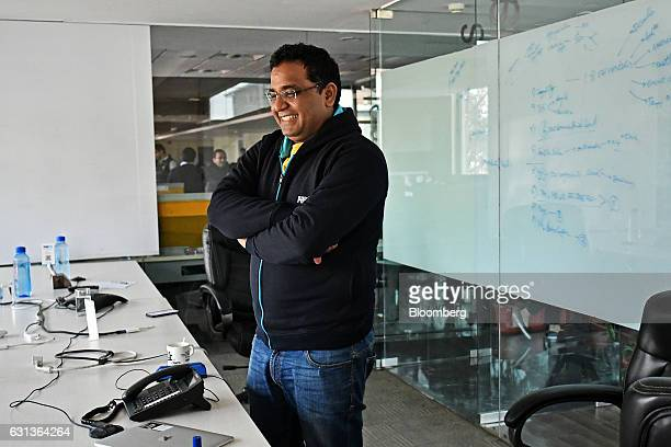 Vijay Shekhar Sharma founder and chairman of One97 Communications Ltd operator of PayTM reacts during a meeting at the company's office in Noida...