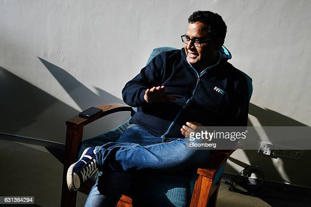 Vijay Shekhar Sharma founder and chairman of One97 Communications Ltd operator of PayTM left talks during a meeting at the company's office in Noida...
