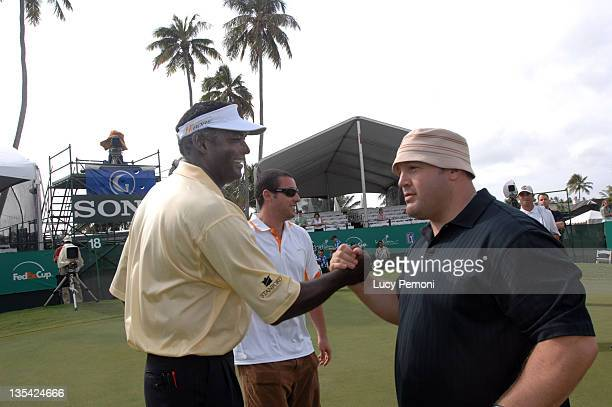 Vijay Singh Adam Sandler and Kevin James during 2007 Sony Open ProAm January 10 2007 at Waialae Country Club in Honolulu Hawaii United States
