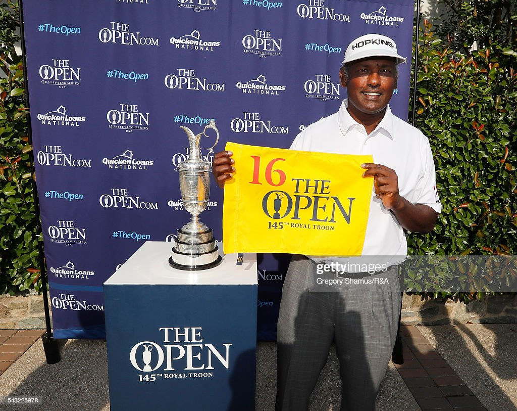 <a gi-track='captionPersonalityLinkClicked' href=/galleries/search?phrase=Vijay+Singh&family=editorial&specificpeople=179484 ng-click='$event.stopPropagation()'>Vijay Singh</a> from Fiji holds up a flag after qualifying for the 2016 Open Championship with a second place finish at the Quicken Loans National at Congressional Country Club on June 26, 2016 in Bethesda Maryland.
