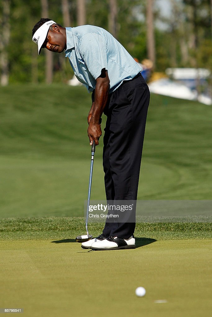 Vijay Singh makes a putt for par on the 11th hole during the second round of the Shell Houston Open at Redstone Golf Club April 3 2009 in Humble Texas