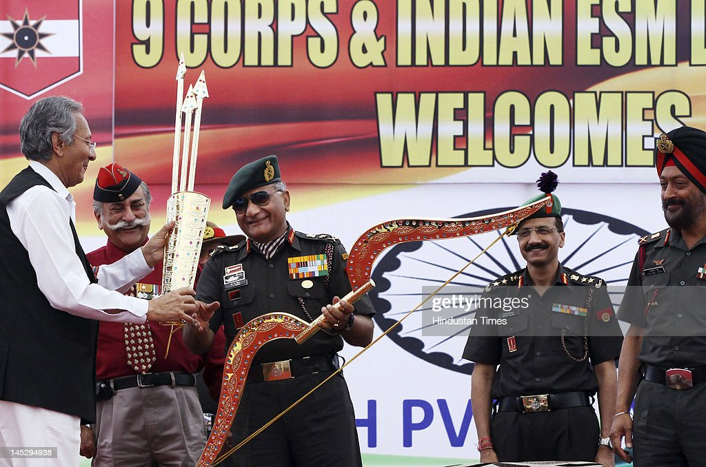 Vijay Singh Mankotia, president of the ex-serviceman league and Himachal Pradesh honor Gen. V.K.Singh, chief of army staff, on May 25, 2012 in Dharamshala, India. Singh, who retires May 31, will be replaced by Lt. Gen. Bikram Singh as chief of army staff.