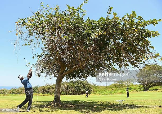 Vijay Singh of Fiji competes in the ProAm ahead of the 2016 Fiji International at Natadola Bay Golf Course on October 5 2016 in Natadola Fiji