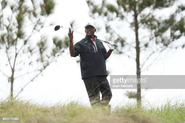 Vijay Singh of Fiji gestures to playing partners during the proam ahead of the 2017 Fiji International at Natadola Bay Championship Golf Course on...