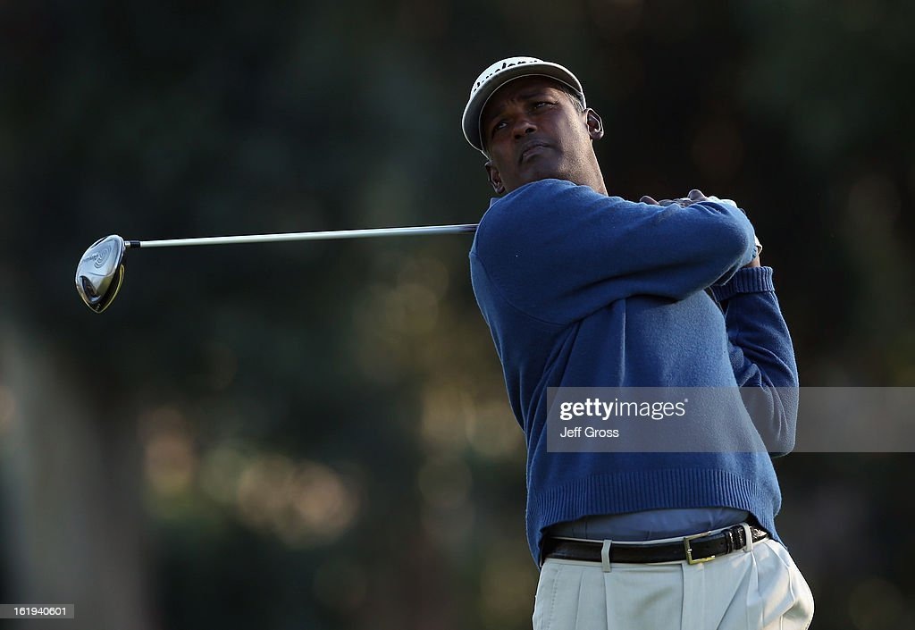 Vijay Singh of Fiji hits a shot during the first round of the Northern Trust Open at Riviera Country Club on February 14, 2013 in Pacific Palisades, California.