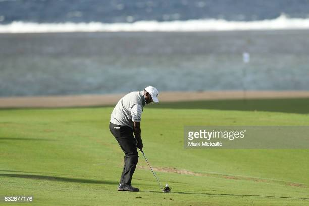 Vijay Singh of Fiji hits an approach shot during day one of the 2017 Fiji International at Natadola Bay Championship Golf Course on August 17 2017 in...