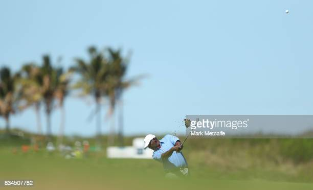 Vijay Singh of Fiji hits an approach shot on the 17th hole during day two of the 2017 Fiji International at Natadola Bay Championship Golf Course on...