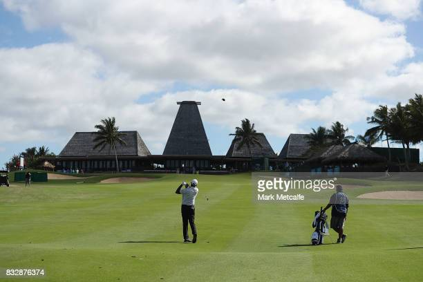 Vijay Singh of Fiji hits an approach shot on the 18th hole during day one of the 2017 Fiji International at Natadola Bay Championship Golf Course on...