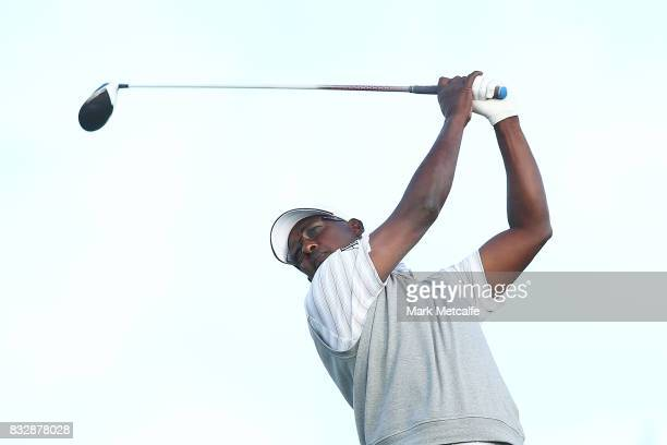 Vijay Singh of Fiji hits his tee shot on the 11th hole during day one of the 2017 Fiji International at Natadola Bay Championship Golf Course on...