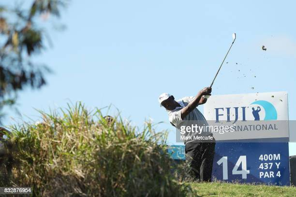 Vijay Singh of Fiji hits his tee shot on the 14th hole during day one of the 2017 Fiji International at Natadola Bay Championship Golf Course on...