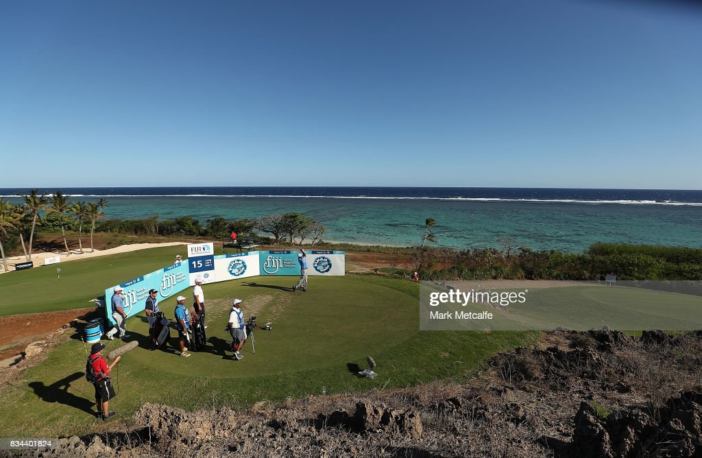 Vijay Singh of Fiji hits his tee shot on the 15th hole during day two of the 2017 Fiji International at Natadola Bay Championship Golf Course on August 18, 2017 in Suva, Fiji.
