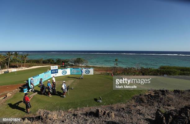 Vijay Singh of Fiji hits his tee shot on the 15th hole during day two of the 2017 Fiji International at Natadola Bay Championship Golf Course on...