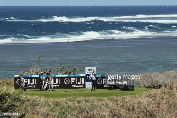 Vijay Singh of Fiji hits his tee shot on the 16th hole during day one of the 2017 Fiji International at Natadola Bay Championship Golf Course on...