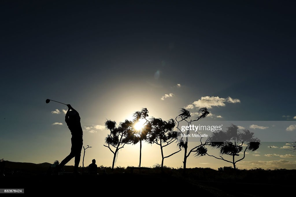 Vijay Singh of Fiji hits his tee shot on the 1st hole during day one of the 2017 Fiji International at Natadola Bay Championship Golf Course on August 17, 2017 in Suva, Fiji.