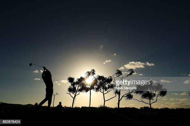 Vijay Singh of Fiji hits his tee shot on the 1st hole during day one of the 2017 Fiji International at Natadola Bay Championship Golf Course on...