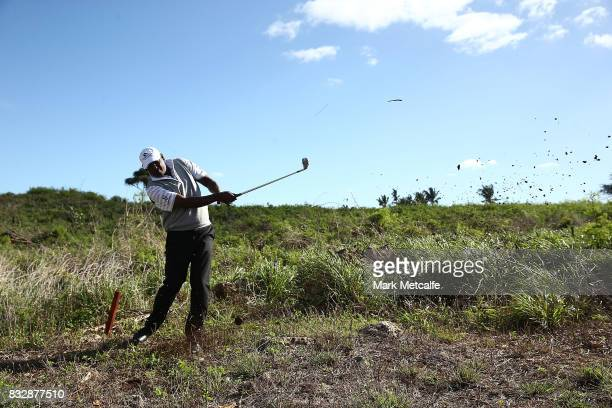 Vijay Singh of Fiji hits out of the rough during day one of the 2017 Fiji International at Natadola Bay Championship Golf Course on August 17 2017 in...