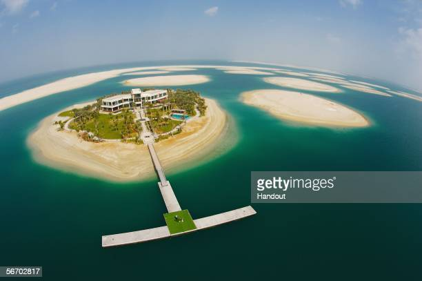 Vijay Singh of Fiji is pictured as he tees off from the island of Greenland in the prestigious megaproject 'The World' in January 2006 in Dubai...