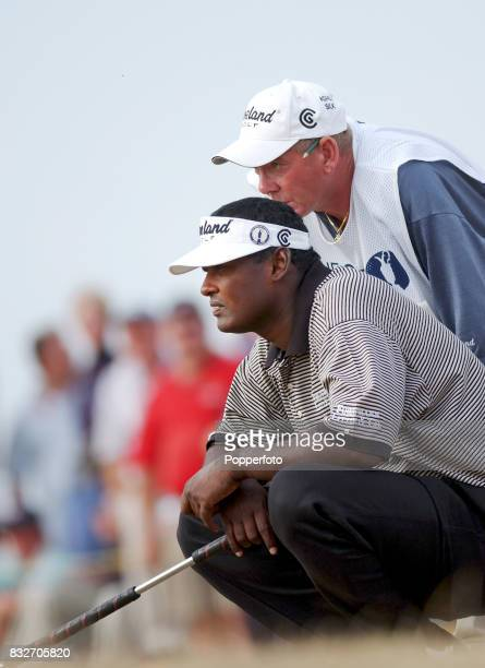 Vijay Singh of Fiji lines up a putt at the 15th during the third round of The Open Championship at the Royal St George's golf course in Sandwich...