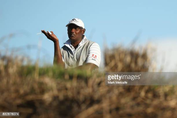 Vijay Singh of Fiji looks on during day one of the 2017 Fiji International at Natadola Bay Championship Golf Course on August 17 2017 in Suva Fiji