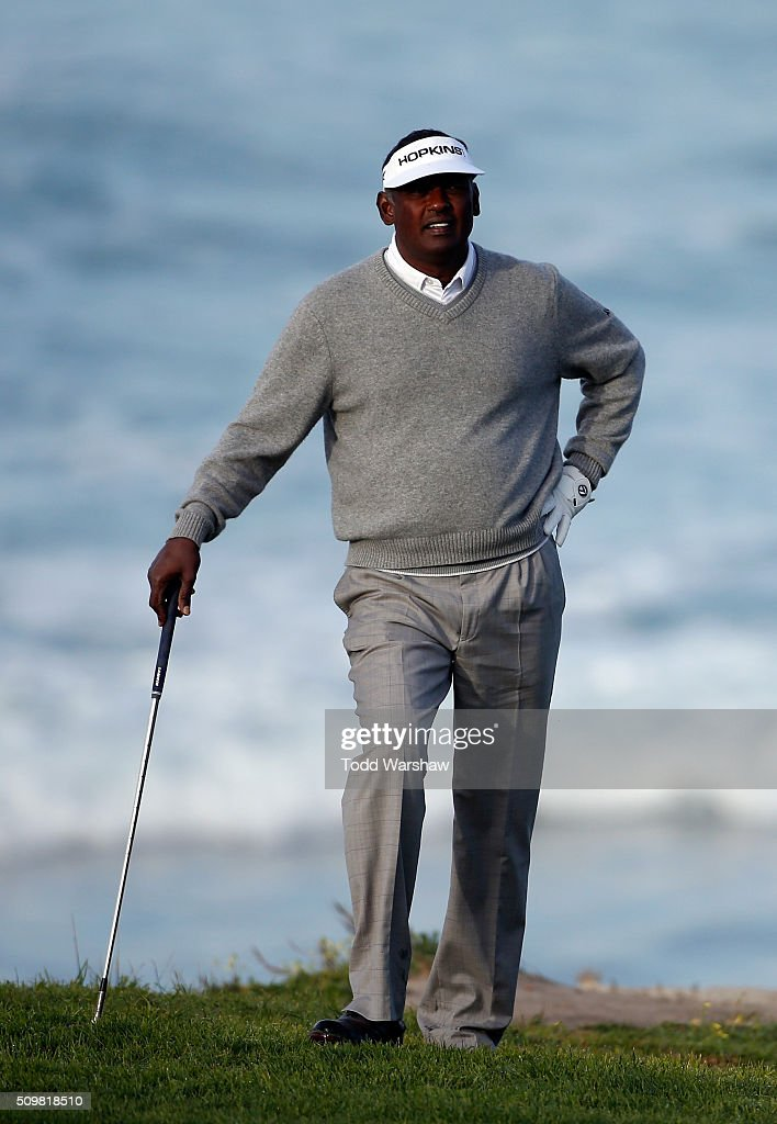 <a gi-track='captionPersonalityLinkClicked' href=/galleries/search?phrase=Vijay+Singh&family=editorial&specificpeople=179484 ng-click='$event.stopPropagation()'>Vijay Singh</a> of Fiji looks on from the 10th fairway during the second round of the AT&T Pebble Beach National Pro-Am at the Pebble Beach Golf Links on February 12, 2016 in Pebble Beach, California.
