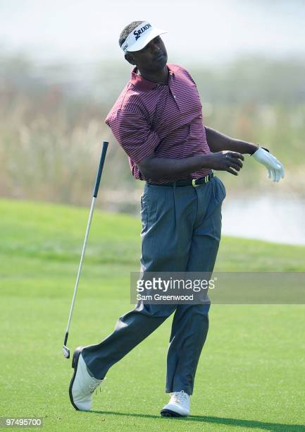 Vijay Singh of Fiji loses his club on the 6th hole during the third round of the Honda Classic at PGA National Resort And Spa on March 6 2010 in Palm...