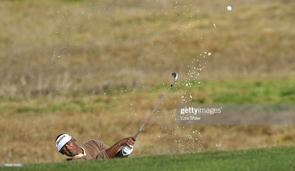 Vijay Singh of Fiji plays a bunker shot on the 12th hole during the second round of the AT&T Pebble Beach National Pro-Am at the Monterey Peninsula Country Club on February 8, 2013 in Pebble Beach, California.