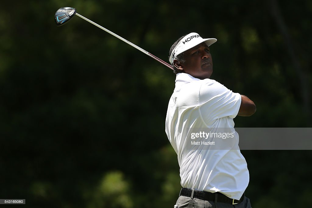 <a gi-track='captionPersonalityLinkClicked' href=/galleries/search?phrase=Vijay+Singh&family=editorial&specificpeople=179484 ng-click='$event.stopPropagation()'>Vijay Singh</a> of Fiji plays a shot from the third tee during the third round of the Quicken Loans National at Congressional Country Club on June 26, 2016 in Bethesda, Maryland.