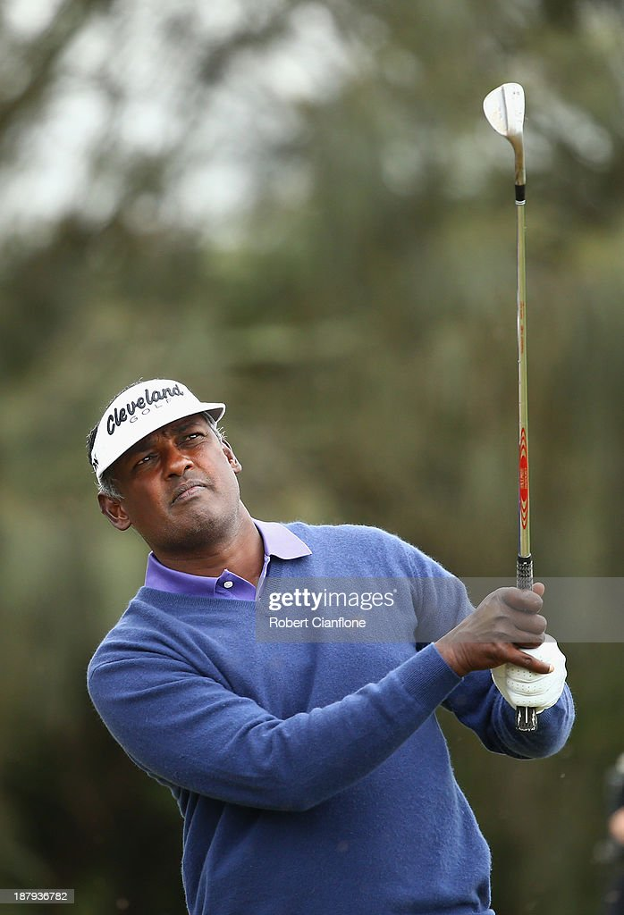 Vijay Singh of Fiji plays a shot off the fairway during round one of the 2013 Australian Masters at Royal Melbourne Golf Course on November 14, 2013 in Melbourne, Australia.