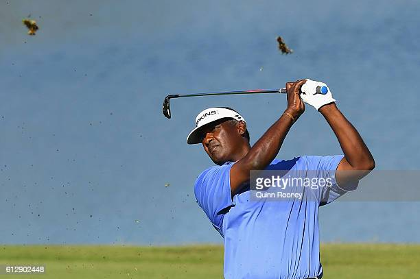 Vijay Singh of Fiji plays an approach shot during day one of the Fiji International at Natadola Bay Golf Course on October 6 2016 in Natadola Fiji