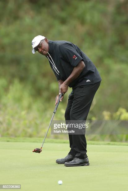 Vijay Singh of Fiji putts during the proam ahead of the 2017 Fiji International at Natadola Bay Championship Golf Course on August 16 2017 in Suva...