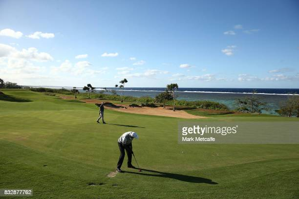 Vijay Singh of Fiji putts on the 15th hole during day one of the 2017 Fiji International at Natadola Bay Championship Golf Course on August 17 2017...
