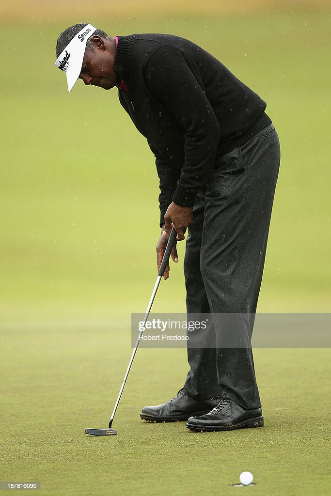 Vijay Singh of Fiji putts on the 4th hole during the Pro Am ahead of the 2013 Australian Masters at Royal Melbourne Golf Course on November 13, 2013 in Melbourne, Australia.