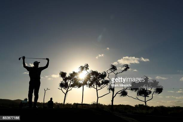 Vijay Singh of Fiji reacts after hitting a wide tee shot on the 1st hole during day one of the 2017 Fiji International at Natadola Bay Championship...