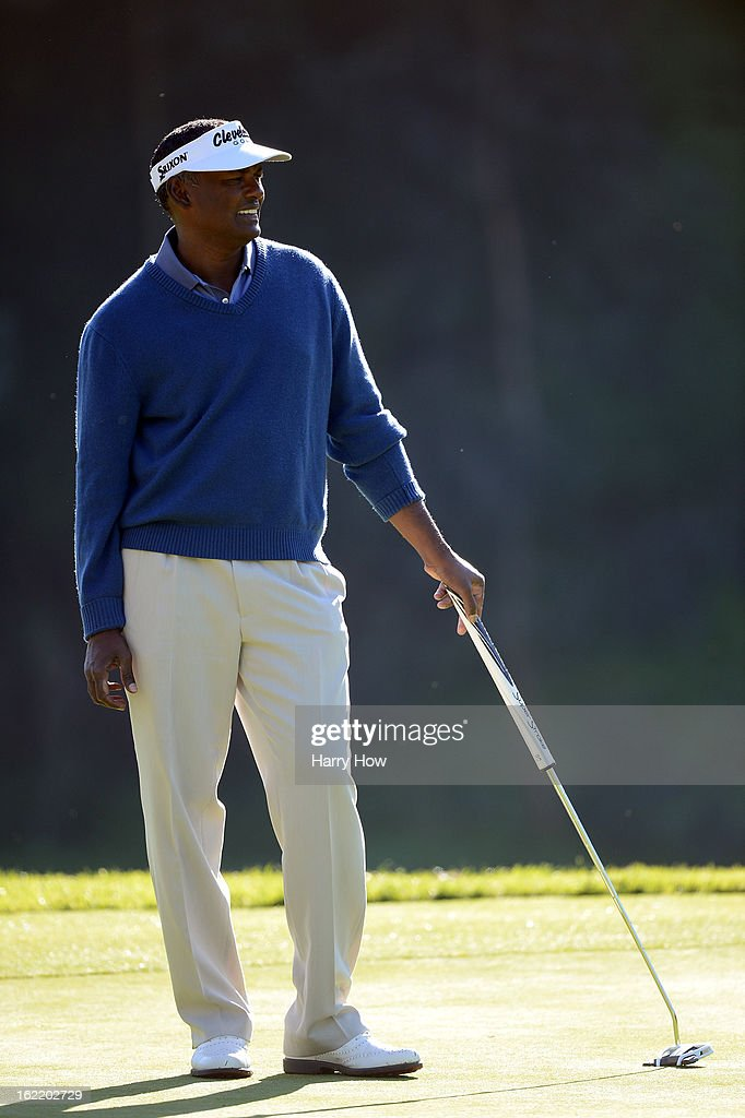 Vijay Singh of Fiji reacts to his missed putt for birdie on the seventh green during the first round of the Northern Trust Open at the Riviera Country Club on February 14, 2013 in Pacific Palisades, California.