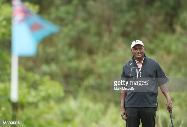 Vijay Singh of Fiji smiles during the proam ahead of the 2017 Fiji International at Natadola Bay Championship Golf Course on August 16 2017 in Suva...