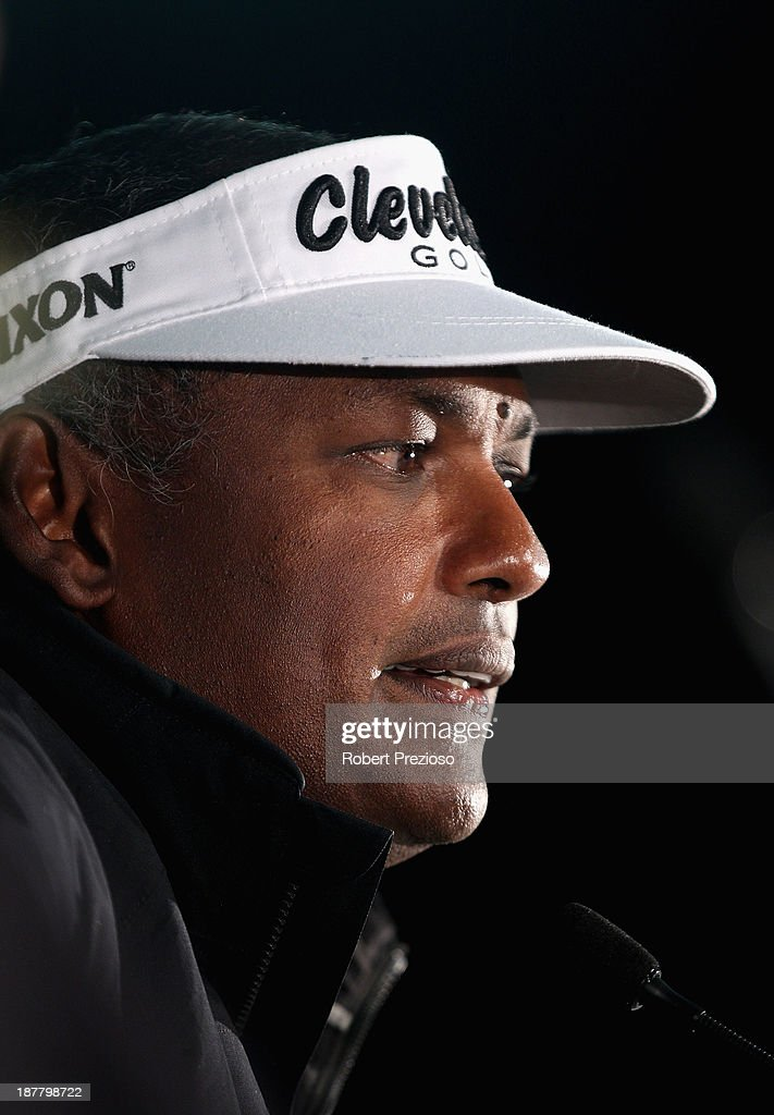 Vijay Singh of Fiji speaks during the Pro Am ahead of the 2013 Australian Masters at Royal Melbourne Golf Course on November 13, 2013 in Melbourne, Australia.