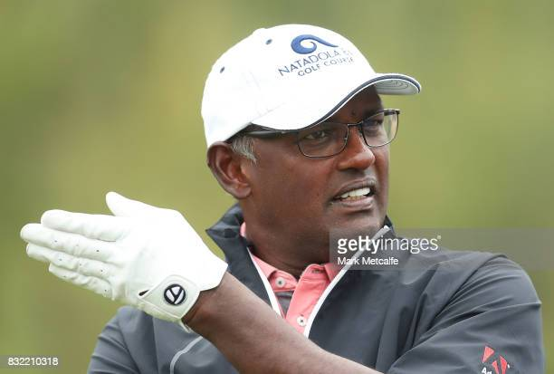 Vijay Singh of Fiji talks to playing partners during the proam ahead of the 2017 Fiji International at Natadola Bay Championship Golf Course on...