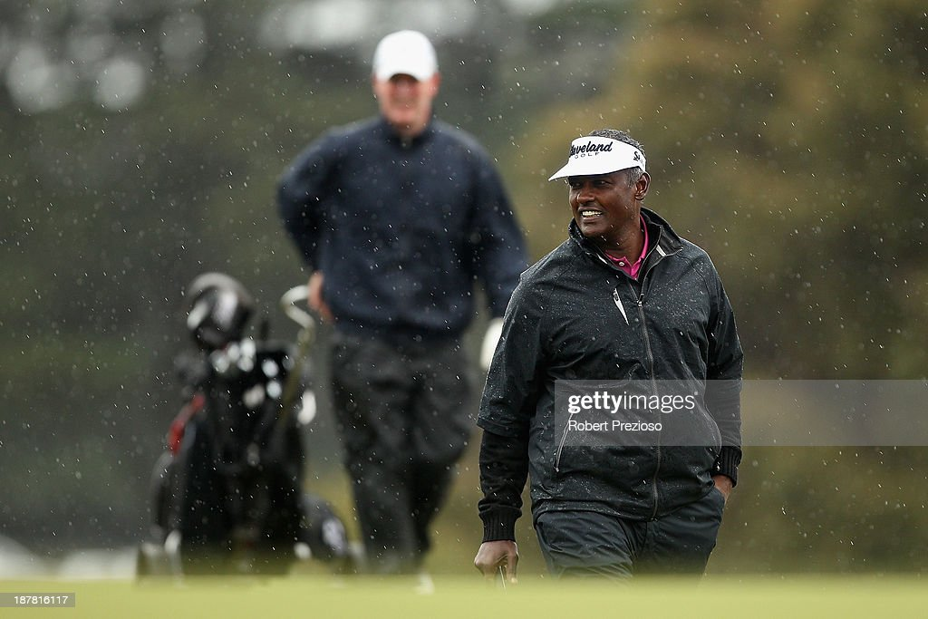 <a gi-track='captionPersonalityLinkClicked' href=/galleries/search?phrase=Vijay+Singh&family=editorial&specificpeople=179484 ng-click='$event.stopPropagation()'>Vijay Singh</a> of Fiji walks along the 5th hole during the Pro Am ahead of the 2013 Australian Masters at Royal Melbourne Golf Course on November 13, 2013 in Melbourne, Australia.