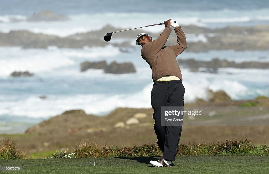 Vijay Singh of Fiji watches his tee shot on the 13th hole during the second round of the AT&T Pebble Beach National Pro-Am at the Monterey Peninsula Country Club on February 8, 2013 in Pebble Beach, California.