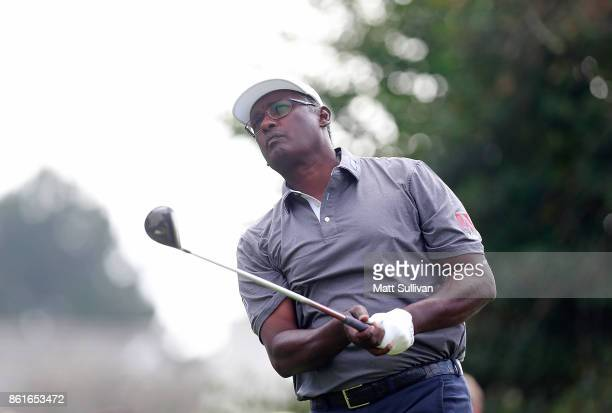 Vijay Singh of Fiji watches his tee shot on the second hole during the final round of the SAS Championship at Prestonwood Country Club on October 15...